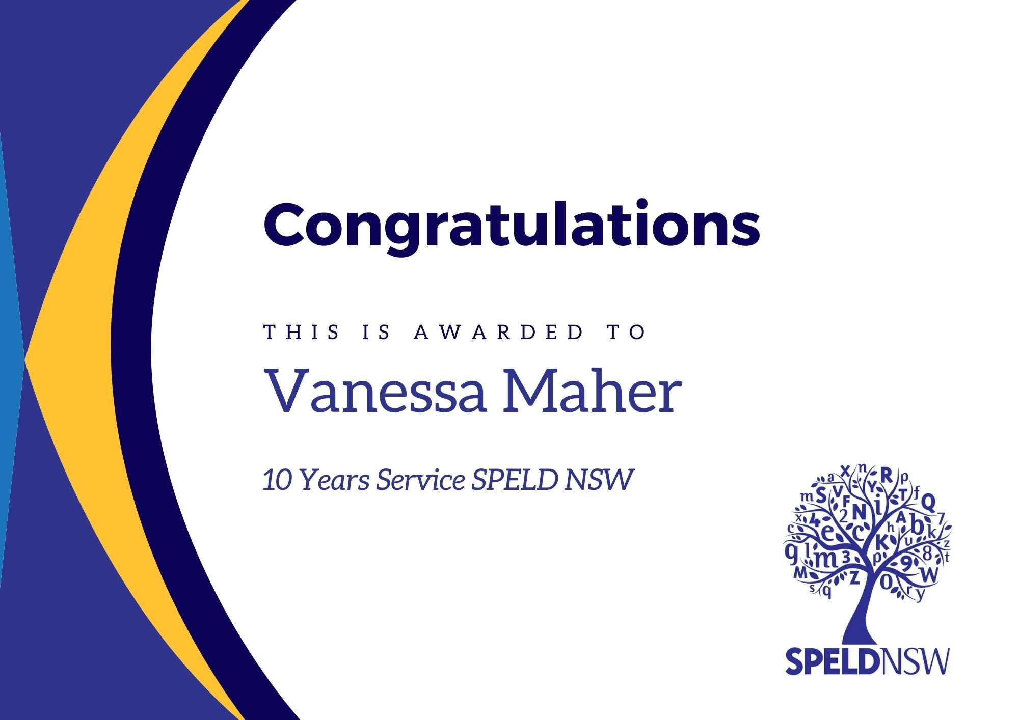 Congratulations Vanessa